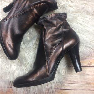 Franco Sarto | Bronze Metallic Stretch Ankle Boots
